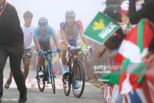 Arrival / Thibaut Pinot of France and Team Groupama FDJ / Richard Carapaz of Ecuador and Movistar Team / during the 73rd Tour of Spain 2018, Stage 17...