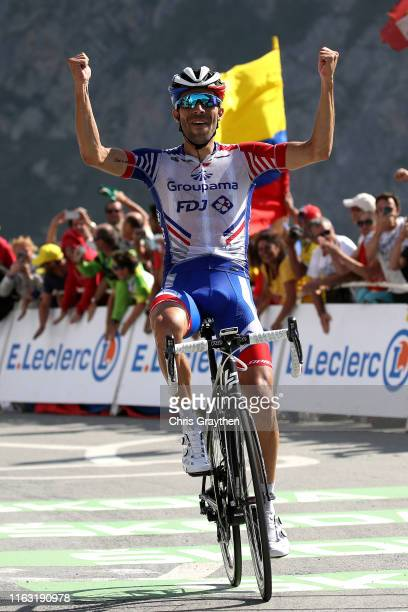 Arrival / Thibaut Pinot of France and Team Groupama-FDJ / Celebration / during the 106th Tour de France 2019, Stage 14 a 117km stage from Tarbes to...