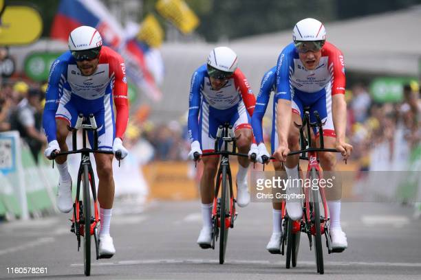 Arrival / Thibaut Pinot of France and Team Groupama-FDJ / Stefan Küng of Switzerland and Team Groupama-FDJ / Sebastien Reichenbach of Switzerland and...