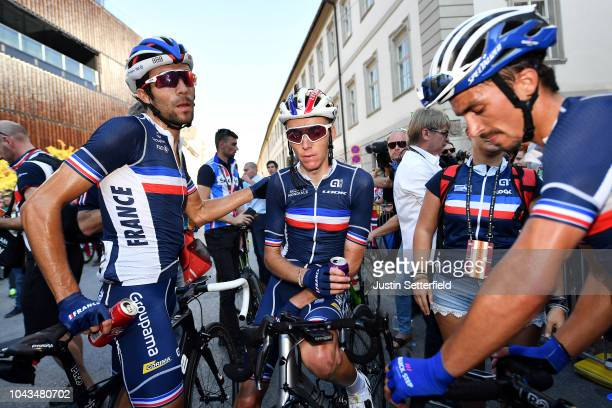 Arrival / Thibaut Pinot of France / Romain Bardet of France / Julian Alaphilippe of France / Disappointment / during the Men Elite Road Race a...