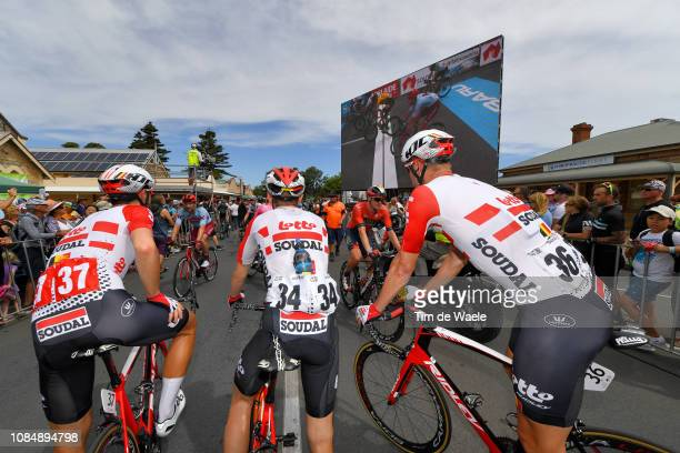 Arrival / Thomas De Gendt of Belgium and Team Lotto Soudal / Carl Fredrik Hagen of Norway and Team Lotto Soudal / Roger Kluge of Germany and Team...