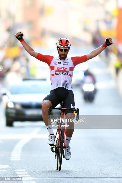 Arrival / Thomas De Gendt of Belgium and Team Lotto Soudal / Celebration / during the Volta Ciclista a Catalunya 2019, Stage 1 a 164km stage from...