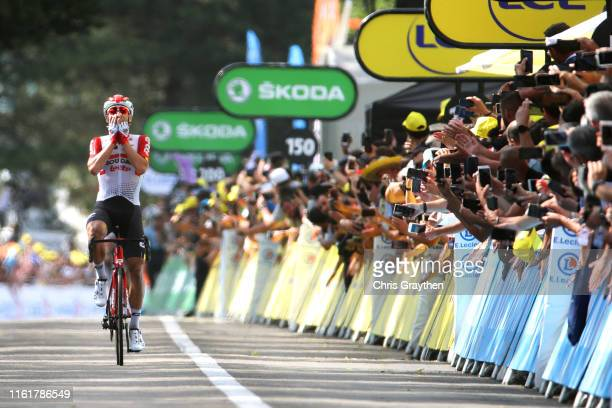 Arrival / Thomas De Gendt of Belgium and Team Lotto Soudal / Celebration / during the 106th Tour de France 2019, Stage 8 a 200km stage from Mâcon to...