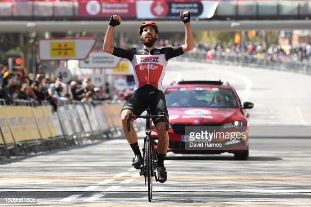 Arrival / Thomas De Gendt of Belgium and Team Lotto Soudal Celebration, during the 100th Volta Ciclista a Catalunya 2021, Stage 7 a 133km stage from...