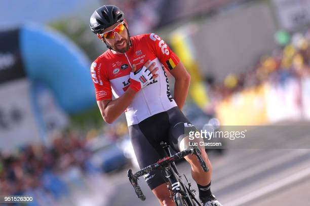 Arrival / Thomas De Gendt of Belgium and Team Lotto Soudal / Celebration / during the 72nd Tour de Romandie 2018, Stage 2 a 173,9km stage from...