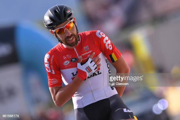 Arrival / Thomas De Gendt of Belgium and Team Lotto Soudal / Celebration / during the 72nd Tour de Romandie 2018 Stage 2 a 1739km stage from Delemont...