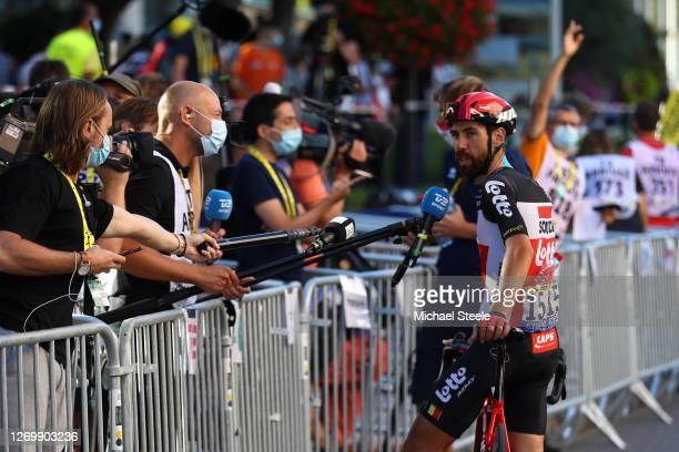 Arrival / Thomas De Gendt of Belgium and Team Lotto Soudal / Interview / Social distancing / Press / Media / during the 107th Tour de France 2020,...