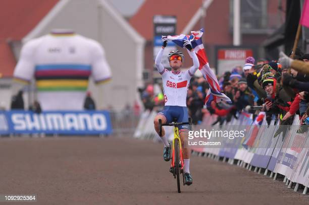 Arrival / Thomas Pidcock of Great Britain and Team Great Britain / Celebration / during the 70th Cyclo-cross World Championships Bogense 2019, Men...