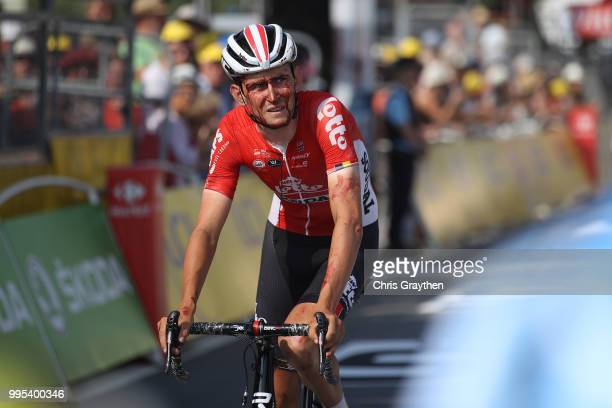 Arrival / Tiesj Benoot of Belgium and Team Lotto Soudal / Injury / Crash / during the 105th Tour de France 2018, Stage 4 a 195km stage from La Baule...