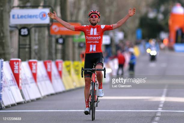 Arrival / Tiesj Benoot of Belgium and Team Sunweb / Celebration / during the 78th Paris Nice 2020 Stage 6 a 1615km stage from Sorgues to Apt 234m /...