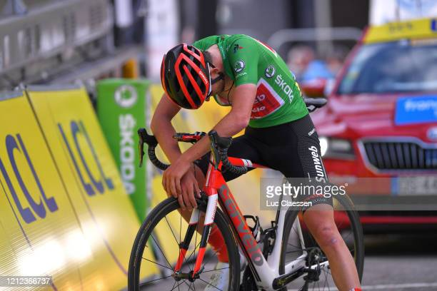 Arrival / Tiesj Benoot of Belgium and Team Sunweb Green Sprint Jersey / Disappointment / during the 78th Paris Nice 2020 Stage 7 a 1665km stage from...