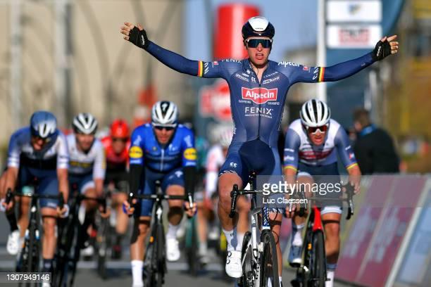 Arrival / Tim Merlier of Belgium and Team Alpecin-Fenix Celebration, Mads Pedersen of Denmark and Team Trek - Segafredo & Florian Senechal of France...