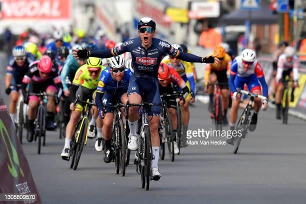 Arrival / Tim Merlier of Belgium and Team Alpecin-Fenix Celebration, Mark Cavendish of United Kingdom and Team Deceuninck - Quick-Step & Timothy...