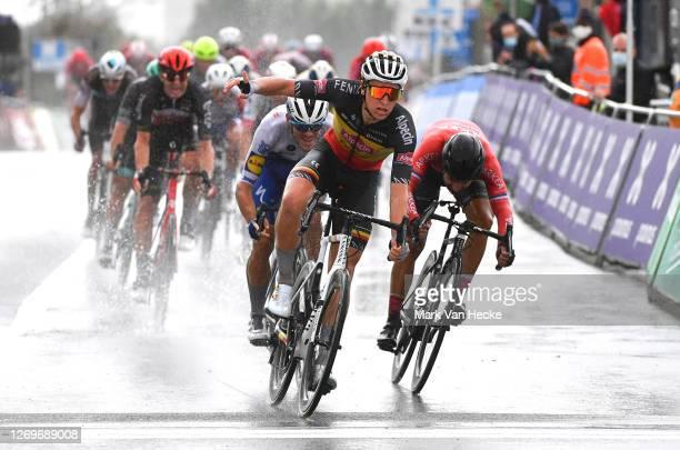 Arrival / Tim Merlier of Belgium and Team Alpecin-Fenix / Celebration / Nacer Bouhanni of France and Team Arkea - Samsic / Davide Ballerini of Italy...