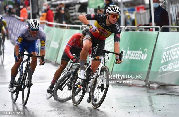 Arrival / Tim Merlier of Belgium and Team Alpecin-Fenix / Celebration / Nacer Bouhanni of France and Team Arkea - Samsic / Crash / during the 100th...