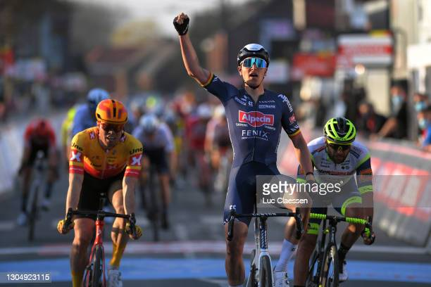 Arrival / Tim Merlier of Belgium and Team Alpecin-Fenix Celebration, Rasmus Tiller of Norway and Uno-X Pro Cycling Team & Andrea Pasqualon of Italy...