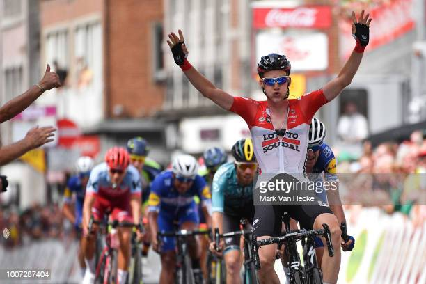 Arrival / Tim Wellens of Belgium and Team Lotto Soudal / Celebration / Pieter Serry of Belgium and Team QuickStep Floors / during the 39th Tour...