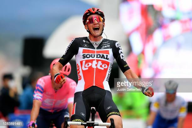 Arrival / Tim Wellens of Belgium and Team Lotto Soudal / Celebration / Michael Woods of Canada and Team EF Pro Cycling / during the 75th Tour of...