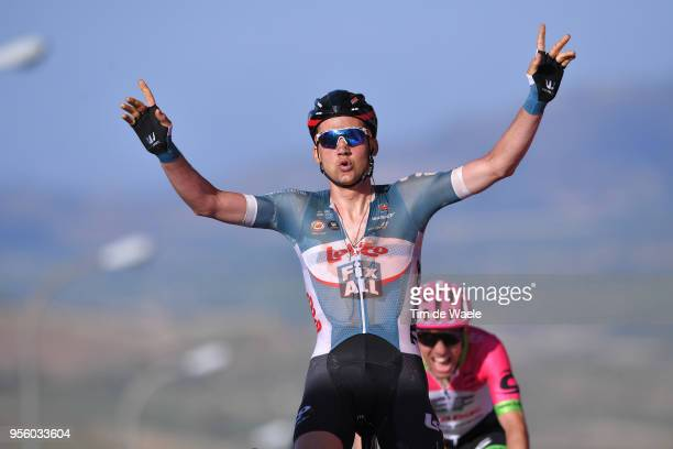 Arrival / Tim Wellens of Belgium and Team Lotto Soudal / Celebration / Michael Woods of Canada and Team EF Education FirstDrapac p/b Cannondale /...