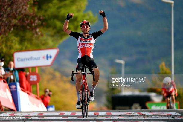 Arrival / Tim Wellens of Belgium and Team Lotto Soudal / Celebration / during the 75th Tour of Spain 2020, Stage 5 a 184,4km Huesca to Sabiñánigo...