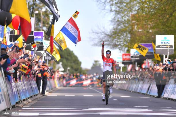 Arrival / Tim Wellens of Belgium and Team Lotto Soudal / Celebration / during the 58th Brabantse Pijl 2018 / La Flèche Brabanconne a 201,9km race...