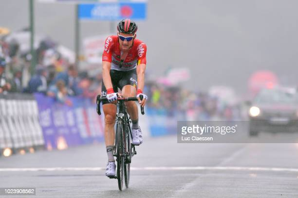 Arrival / Tim Wellens of Belgium and Team Lotto Soudal / during the 82nd Bretagne Classic Ouest-France 2018 a 256,9km race from Plouay to Plouay on...