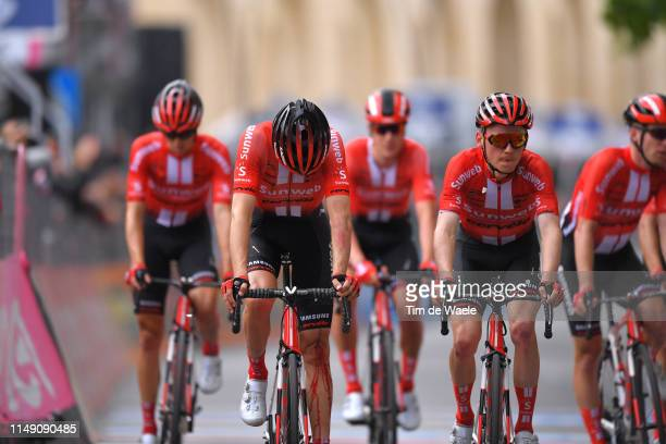 Arrival / Tom Dumoulin of The Netherlands and Team Sunweb / Injury / Crash / Disappointment / Sam Oomen of The Netherlands and Team Sunweb / during...