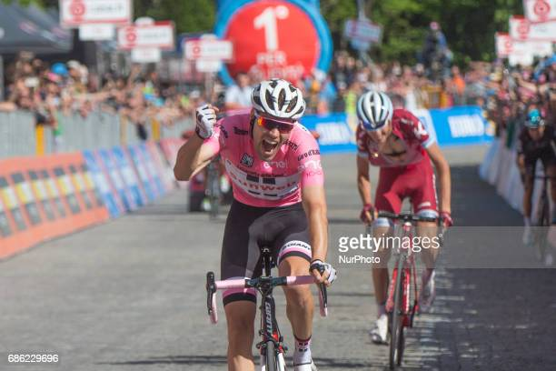 Arrival Tom DUMOULIN Pink Leader Jersey Celebration during the 100th Tour of Italy 2017 Giro Stage 14 Castellania OropaBiella 1142m on May 20 2017 in...