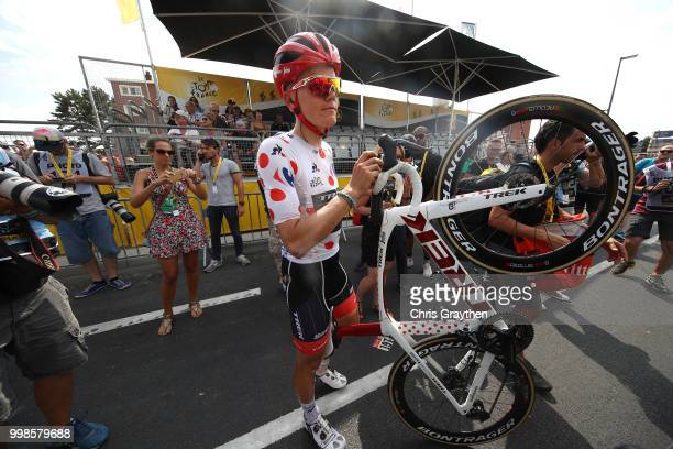 Arrival / Toms Skujins of Latvia and Team Trek Segafredo Polka Dot Mountain Jersey / Crash / Injury / during the 105th Tour de France 2018, Stage 8 a...