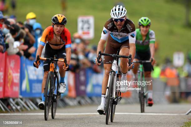 Arrival / Tony Gallopin of France and Team Ag2R La Mondiale / Hermann Pernsteiner of Austria and Team Bahrain - McLaren / during the 44th La Route...