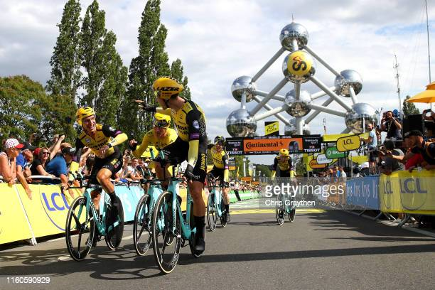 Arrival / Tony Martin of Germany and Team Jumbo-Visma / Mike Teunissen of The Netherlands and Team Jumbo-Visma Yellow Leader Jersey / Wout Van Aert...