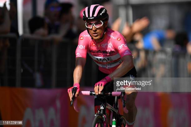 Arrival / Valerio Conti of Italy and UAE - Team Emirates Pink Leader Jersey / during the 102nd Giro d'Italia 2019, Stage 12 a 158km stage from Cuneo...