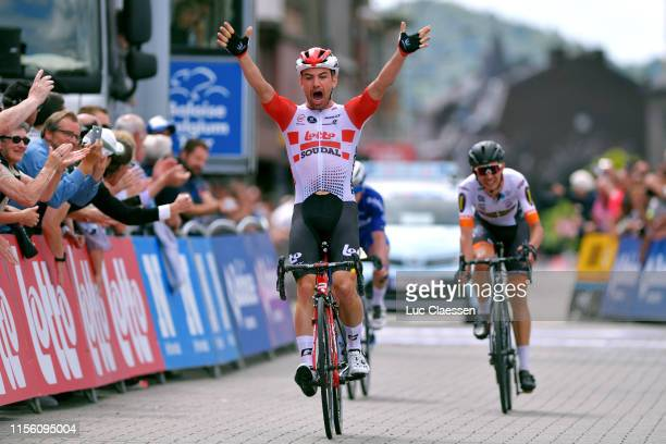 Arrival / Victor Campenaerts of Belgium and Team Lotto Soudal / Celebration / Andreas Kron of Denmark and Riwal Readynez Cycling Team / Remco...