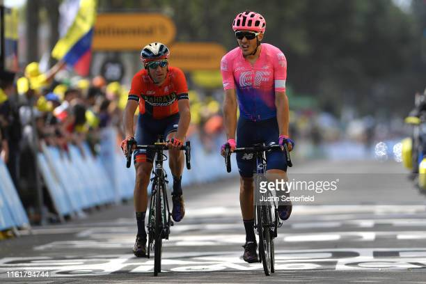 Arrival / Vincenzo Nibali of Italy and Team BahrainMerida / Alberto Bettiol of Italy and Team EF Education First Injury / Crash / during the 106th...
