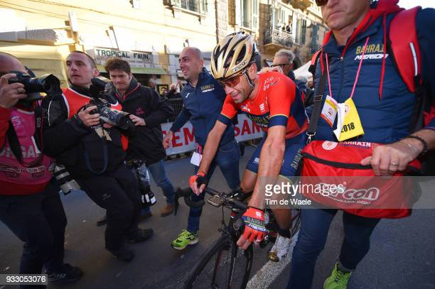 Arrival / Vincenzo Nibali of Italy and Team BahrainMerida / Celebration / during the 109th MilanSanremo 2018 a 291km race from Milan to Sanremo on...