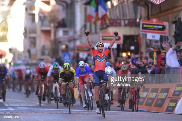 Arrival / Vincenzo Nibali of Italy and Team BahrainMerida / Celebration / Caleb Ewan of Australia and Team MitcheltonScott / during the 109th...