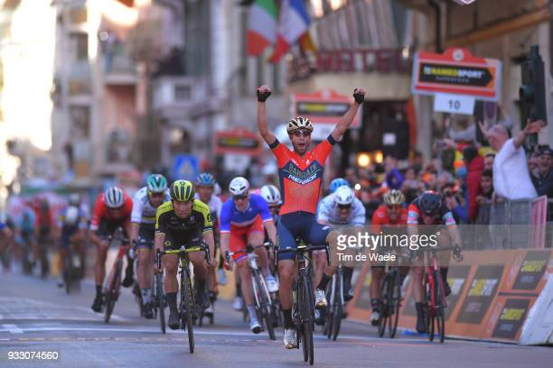 Arrival / Vincenzo Nibali of Italy and Team BahrainMerida / Celebration / Caleb Ewan of Australia and Team MitcheltonScott / during the 109th...
