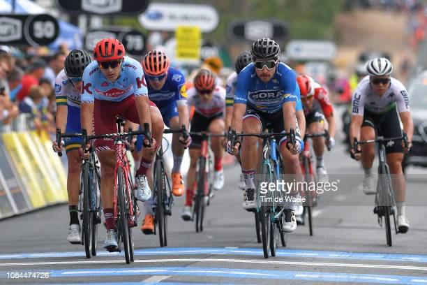 Arrival / Vyacheslav Kuznetsov of Rusia and Team Katusha-Alpecin / Peter Sagan of Slovakia and Team Bora-Hansgrohe Blue Srint Jersey / during the...