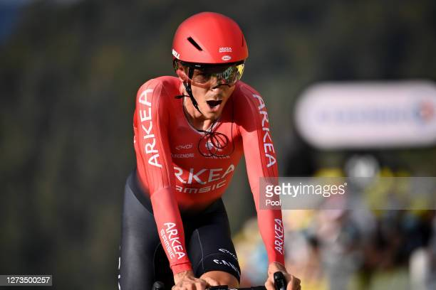 Arrival / Warren Barguil of France and Team Arkea - Samsic / during the 107th Tour de France 2020, Stage 20 a 36,2km Individual Time Trial stage from...