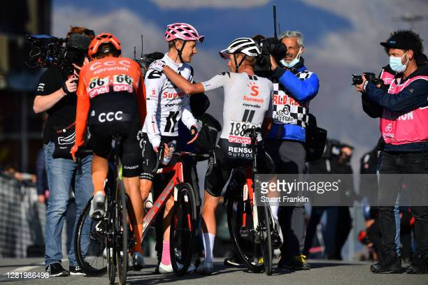 Arrival / Wilco Kelderman of The Netherlands and Team Sunweb Pink Leader Jersey / Disappointment / Martijn Tusveld of The Netherlands and Team Sunweb...