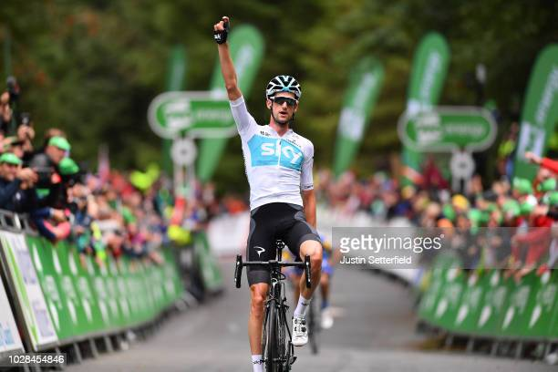 Arrival / Wout Poels of The Netherlands and Team Sky / Celebration / during the 15th Tour of Britain 2018, Stage 6 a 168,3km stage from...
