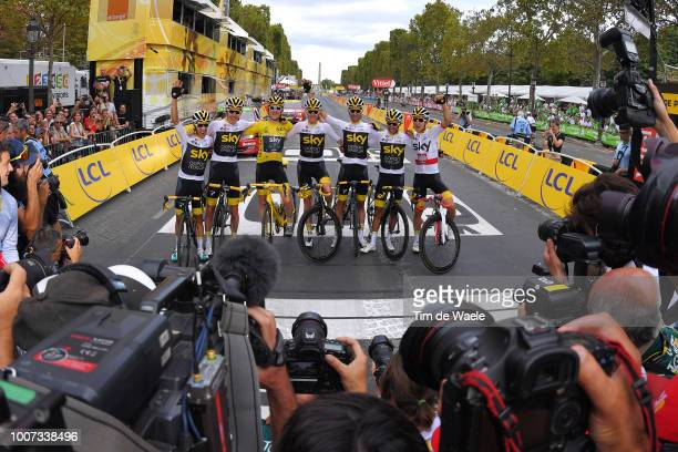 Arrival / Wout Poels of The Netherlands and Team Sky / Christopher Froome of Great Britain and Team Sky / Luke Rowe of Great Britain and Team Sky /...