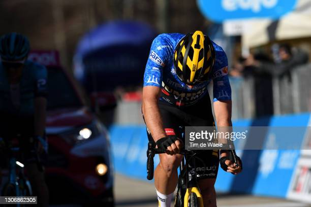 Arrival / Wout Van Aert of Belgium and Team Jumbo - Visma Blue Leader Jersey during the 56th Tirreno-Adriatico 2021, Stage 4 a 148km stage from Terni...