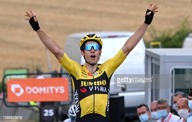 Arrival / Wout Van Aert of Belgium and Team Jumbo - Visma / Celebration / during the 72nd Criterium du Dauphine 2020, Stage 1 a 218,5km stage from...