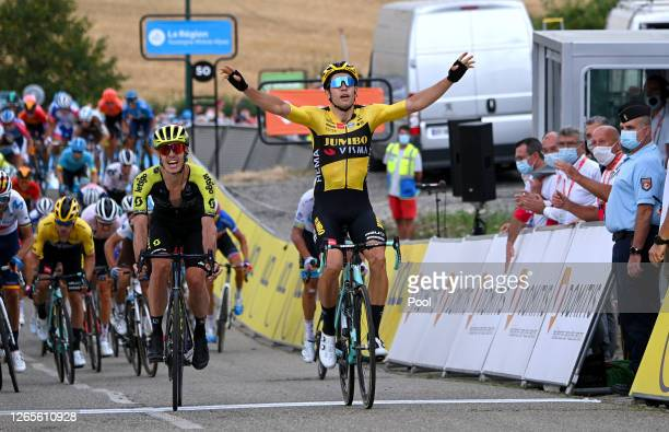 Arrival / Wout Van Aert of Belgium and Team Jumbo - Visma / Celebration / Daryl Impey of South Africa and Team Mitchelton - Scott / during the 72nd...