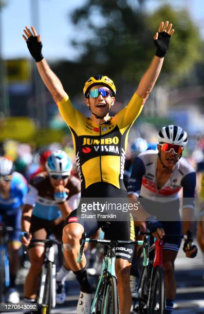 Arrival / Wout Van Aert of Belgium and Team Jumbo - Visma / Celebration / Jasper Stuyven of Belgium and Team Trek - Segafredo / Edvald Boasson Hagen...