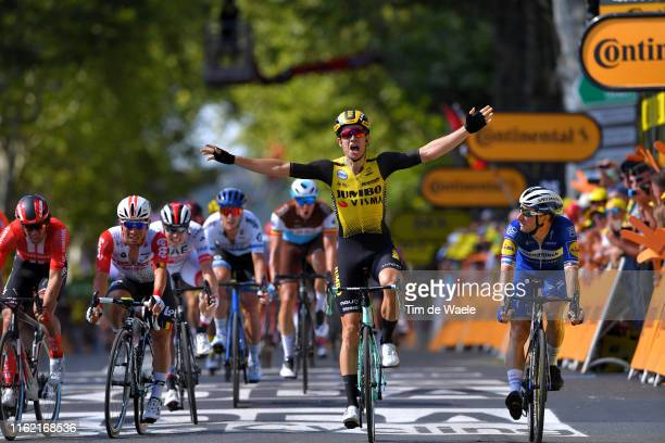Arrival / Wout Van Aert of Belgium and Team JumboVisma /Celebration / Elia Viviani of Italy and Team Deceuninck QuickStep / Caleb Ewan of Australia...