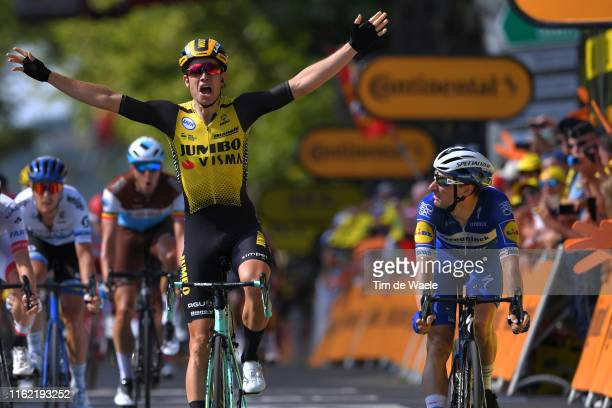 Arrival / Wout Van Aert of Belgium and Team JumboVisma / Celebration / Elia Viviani of Italy and Team Deceuninck QuickStep / during the 106th Tour de...