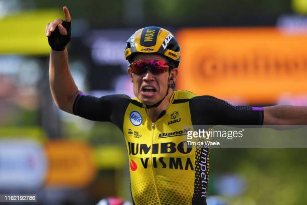Arrival / Wout Van Aert of Belgium and Team Jumbo-Visma / Celebration / during the 106th Tour de France 2019, Stage 10 a 217,5km stage from...