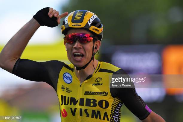 Arrival / Wout Van Aert of Belgium and Team JumboVisma / Celebration / during the 106th Tour de France 2019 Stage 10 a 2175km stage from SaintFlour...
